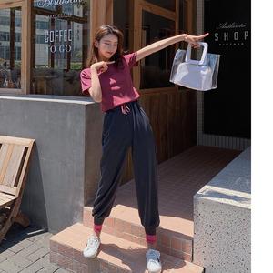 两件套显瘦纯色短袖T恤+松紧腰拼色束脚哈伦休闲裤洋气套装