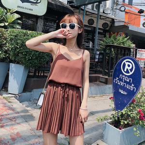 【朵维思】2017夏装新款气质性感吊带宽松百褶短裤套装F6366