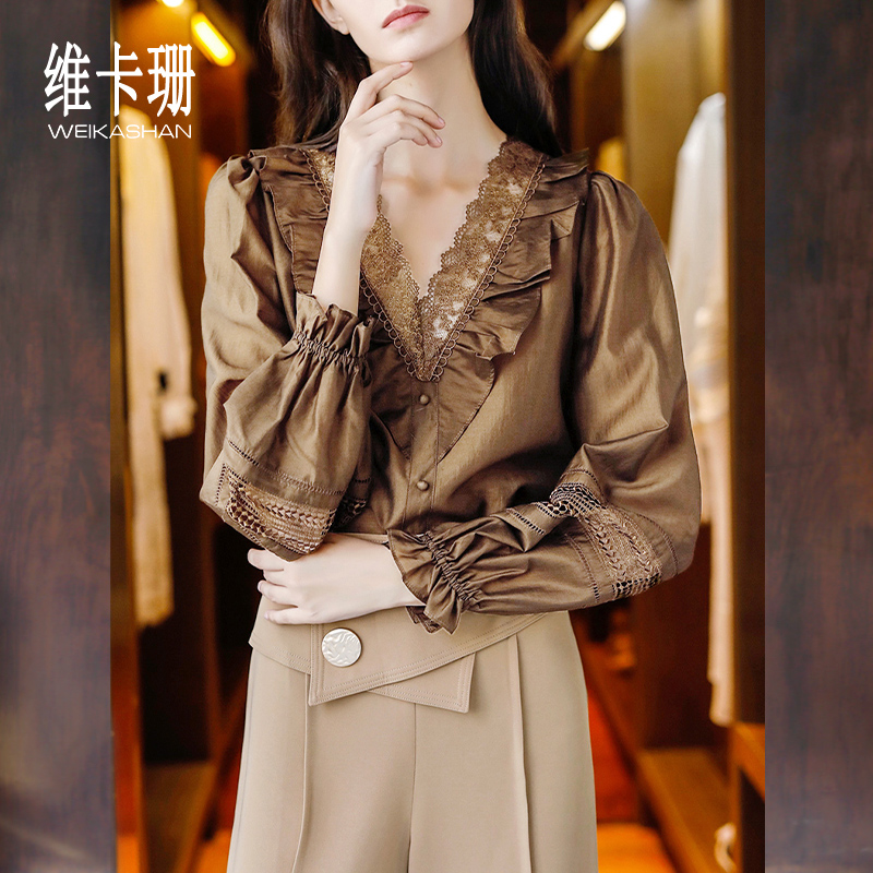 Vikashan hollowed out lace stitching shirt womens long sleeve 2020 new French retro Ruffle Top