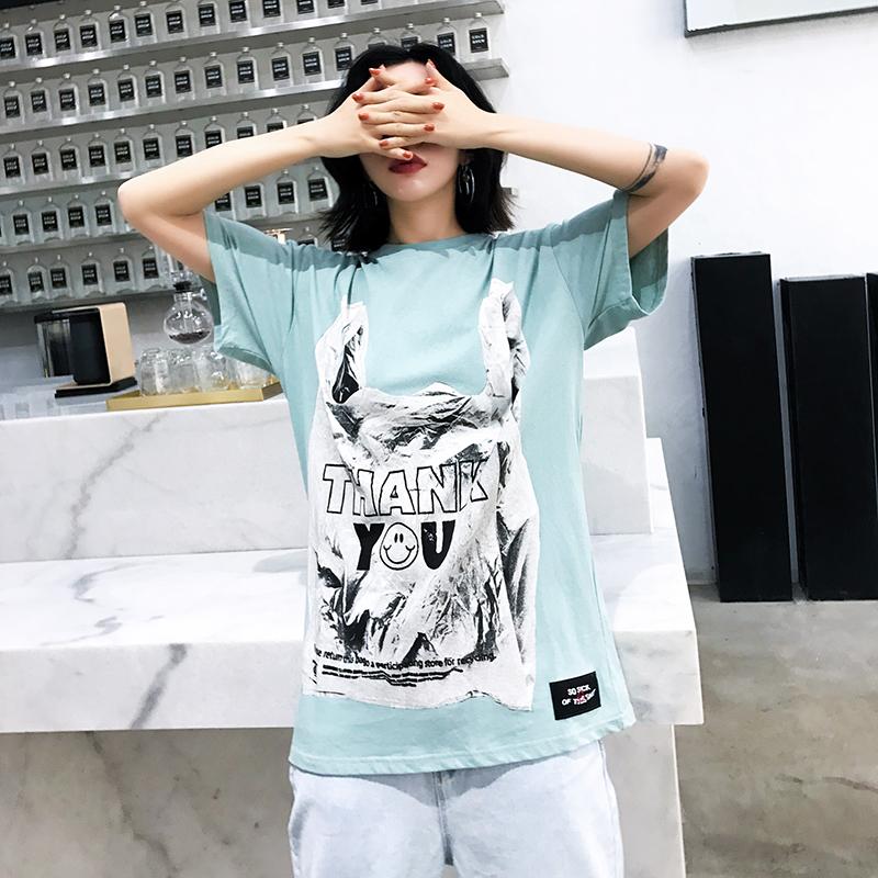NANA日韩复古个字母印花短袖T恤夏季中长款宽松女装嘻哈半袖上衣