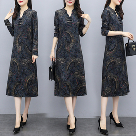 秋季妈妈装旗袍改良版连衣裙气质显瘦过膝长裙2020新款冬季打底裙