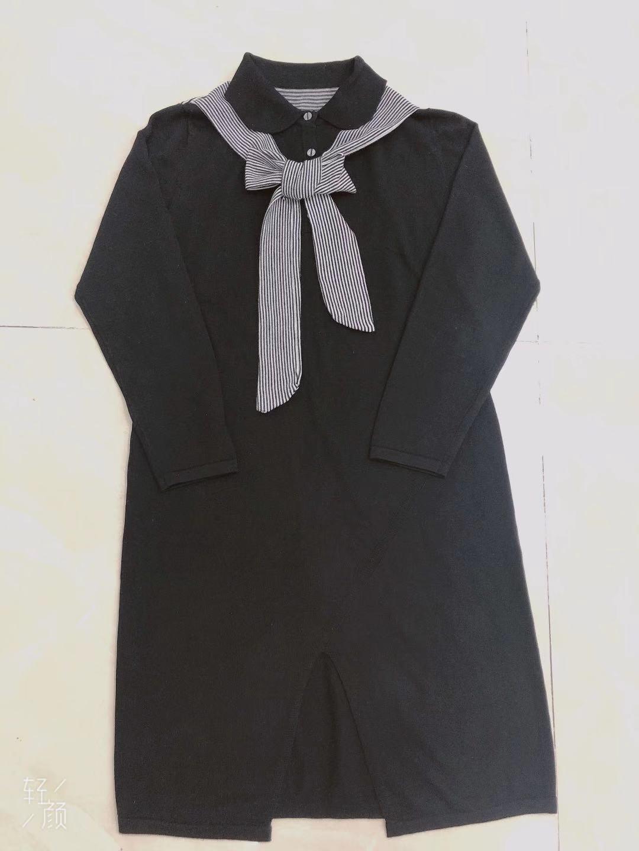 细羊毛 海军风 披肩假两件针织长袖飘带连衣裙12月01日最新优惠