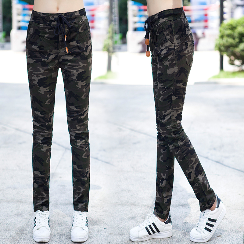 Camouflage pants womens spring and autumn Korean loose casual pants French overalls show thin straight pants outdoor sports pants