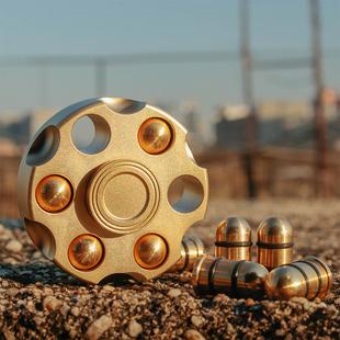 指尖陀螺左輪子彈EDC高速旋轉金屬純銅手指陀螺成人減壓玩具