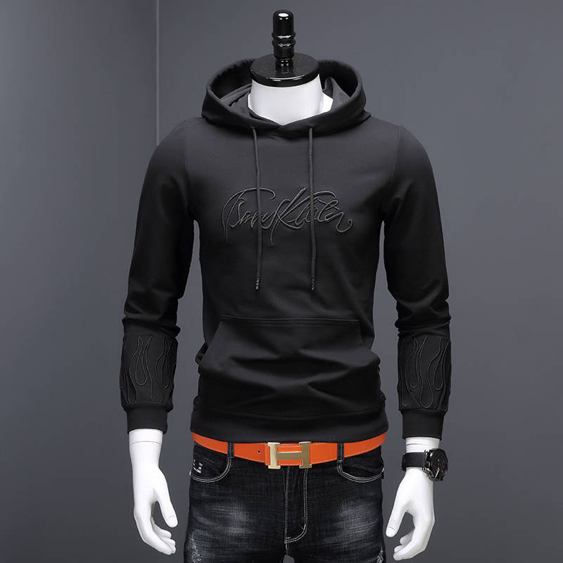 Light luxury clothes mens embroidered loose hooded sweater autumn and winter Plush trend Long Sleeve Shirt Mens coat