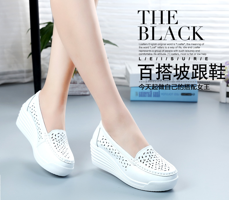 Thick sole muffin shoes leisure nurse shoes womens slope heel comfortable soft soled mothers shoes leather high heels versatile single shoes fashion