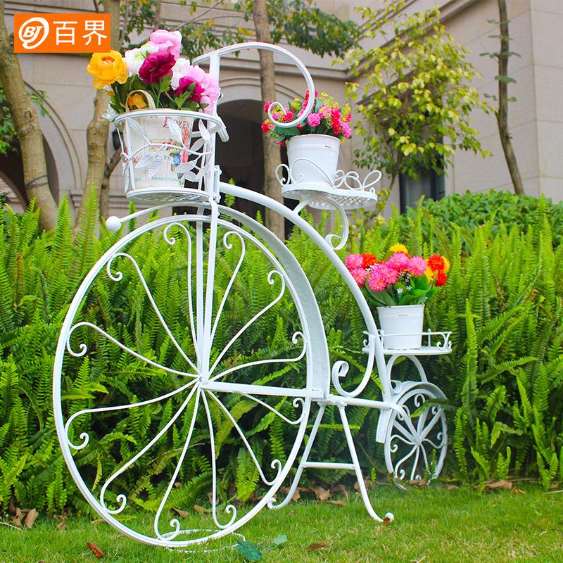 百界创意大自行车铁艺花架欧式客厅室内落地式花架子婚庆婚礼道具