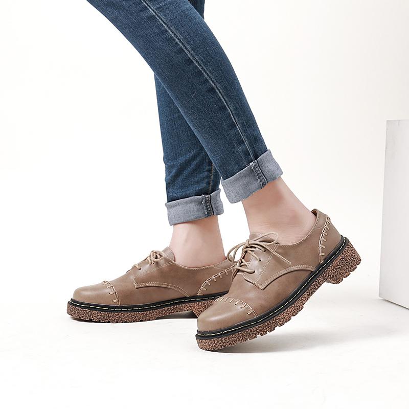 学院风牛津小皮鞋女原宿英伦鞋厚底平底单鞋韩版百搭学生大码女鞋