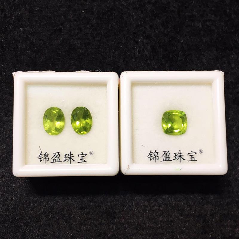 全净宝石椭圆公主方橄榄石戒面耳环镶嵌件珠宝鉴定宝石样品