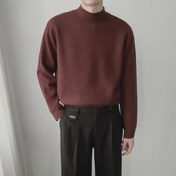 韩版高品质青少年宽松套头半高领针织线衫潮流秋冬男生百搭厚毛衣