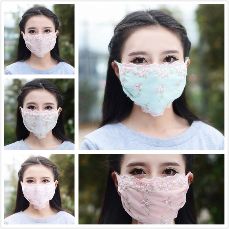 Tight lace mask thickened sexy lace cotton thermal protection mask Korean style student flower in autumn and winter