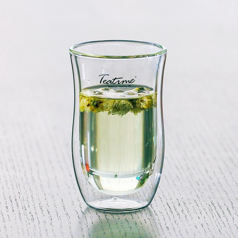Teatime香檳綠茶杯 雙層防燙玻璃杯泡茶會議招待耐熱茶水飲料杯子