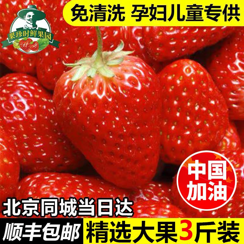 小汤山草莓新鲜红颜奶油草莓现摘3斤孕妇应季水果非丹东9草莓