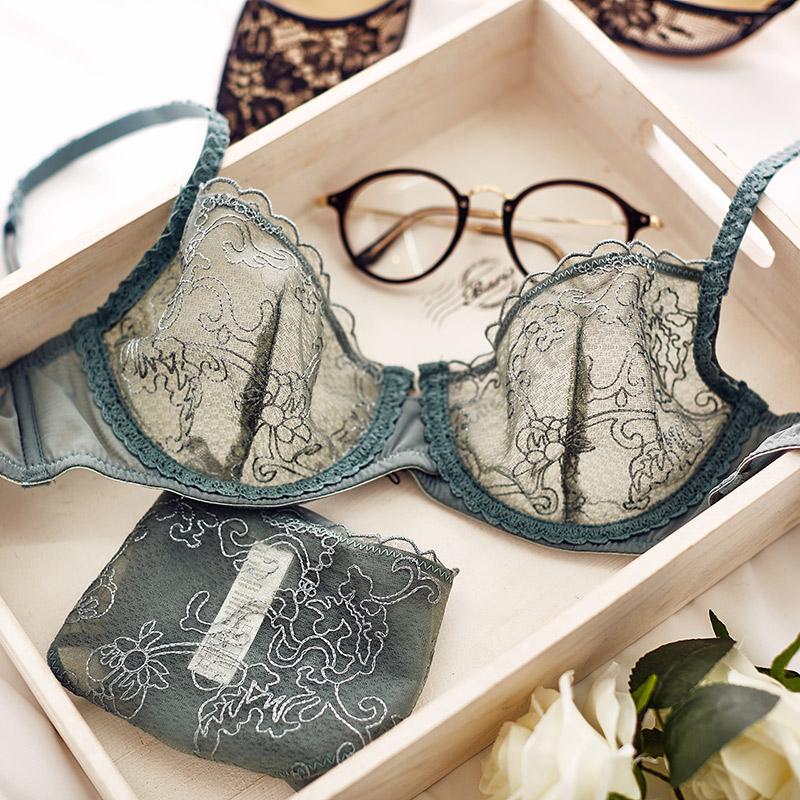 【送乳贴】法式蕾丝文胸网纱透明性感内衣套装女薄夏季聚拢小胸罩