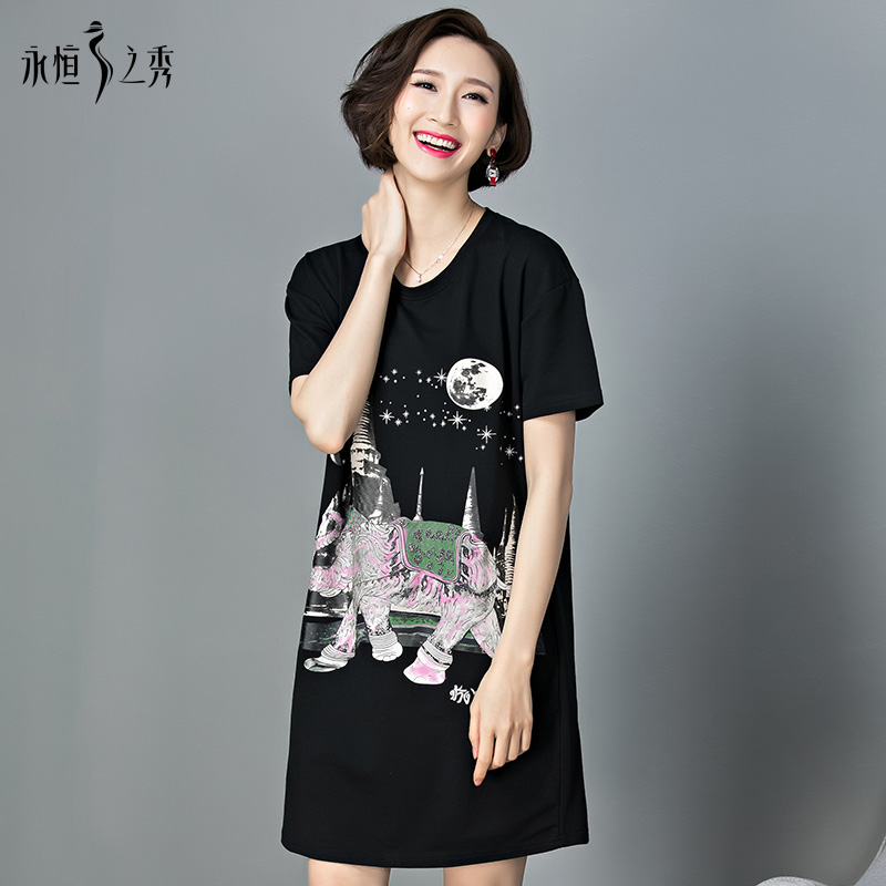 永恒之秀洋气大码女装胖mm2018夏装新款宽松显瘦黑色印花连衣裙