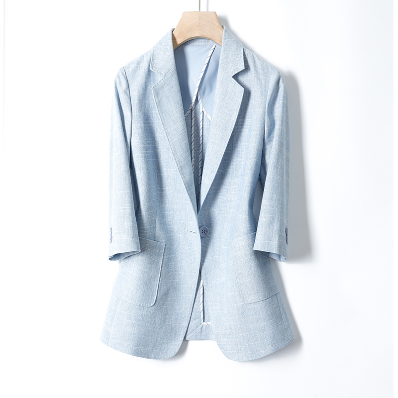 Summer-style suit jacket female cotton and linen short small children Korean version of the seven-point sleeve occupation a buckle cotton linen west dress