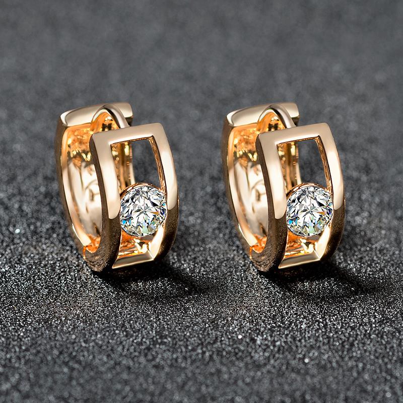 Earrings Korean Fashion Earrings simple golden time Earrings inlaid with Swiss diamond ol style