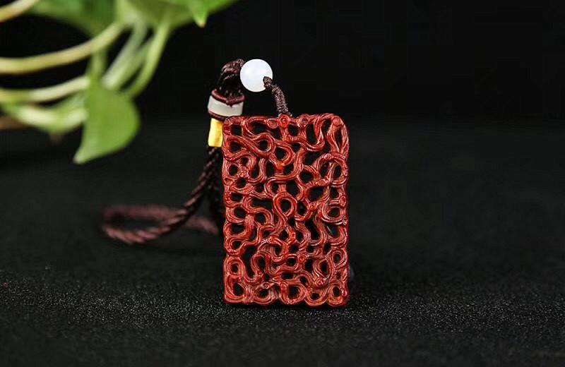 非洲小叶紫檀血檀生生不息木雕刻工艺挂件手把件文玩镂空四六牌