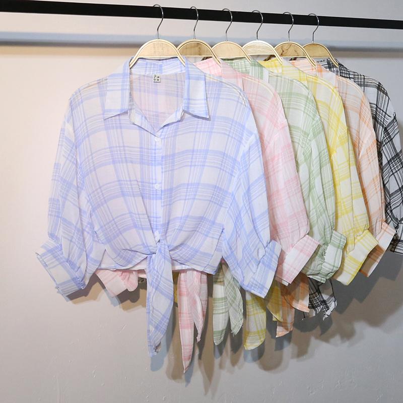券后39.00元很仙的防晒衣2019新款韩版超薄雪纺短款小清新心机设计感格子衬衫