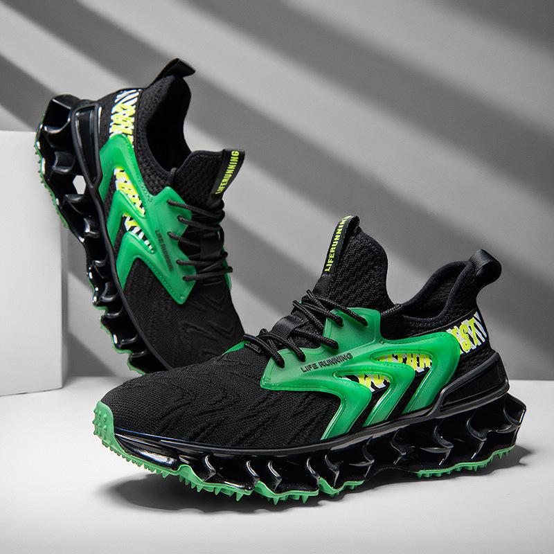 2021新款男鞋潮流透气飞织网面时尚休闲百搭跑步鞋刀锋底运动鞋