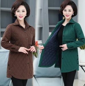 贵妇女士四五六十岁中年妈妈秋冬装半长薄款棉衣服外套夹棉外罩衣