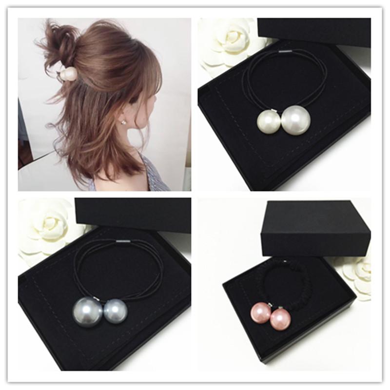 买二送一 大小珍珠发圈头绳百搭时尚加粗皮筋丸子头球球皮套发带