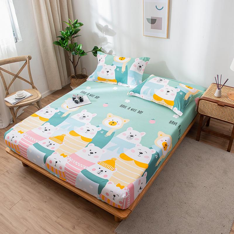 纯棉卡通床笠1.2m儿童学生床罩1.5米1.8m全棉床笠枕套三件套床套