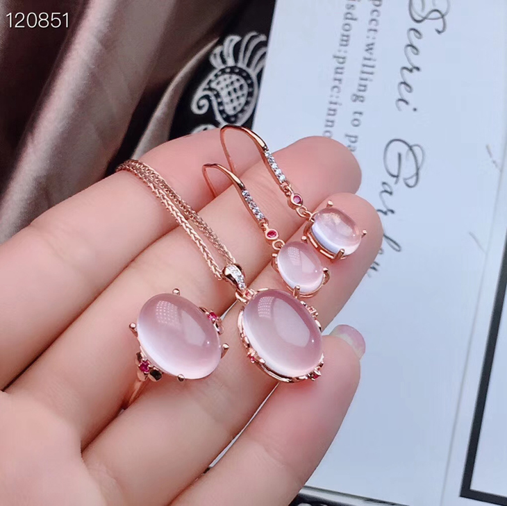 Special 925 Sterling Silver 18K white gold inlaid natural powder crystal ring necklace pendant earrings earrings womens jewelry set