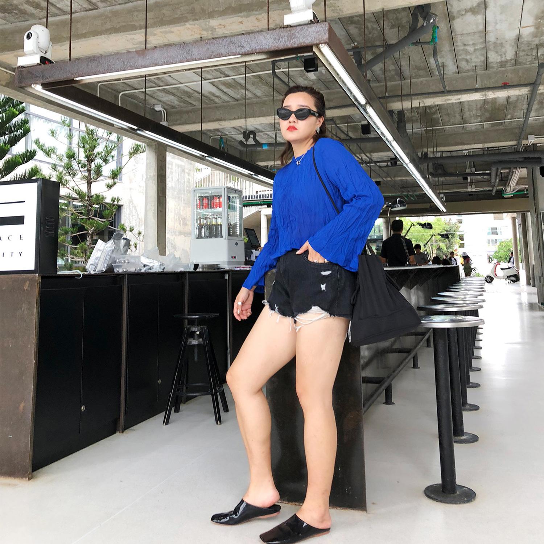 铅笔小鑫大码女装夏季宽松藏肉遮肚子洋气胖MM长袖雪纺衫衬衫上衣