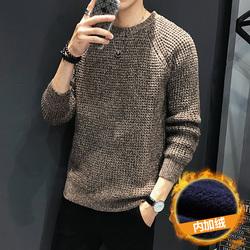 冬季潮流日系针织毛线衫碎花加厚圆领毛衣 M-5XL M868P45加绒P60
