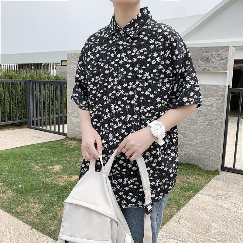 夏季潮流黑色小碎花宽松冰丝衬衣轻薄短袖衬衫 S42P35控48