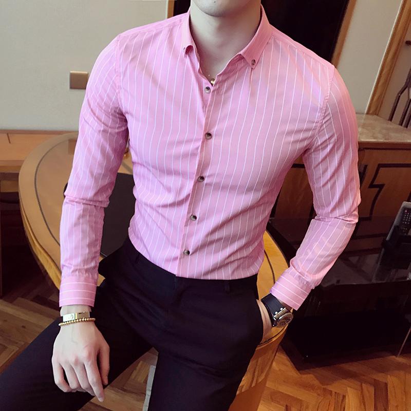 秋季新品潮流英伦衬衣 男士韩版修身细条纹衬衫C11特价P30