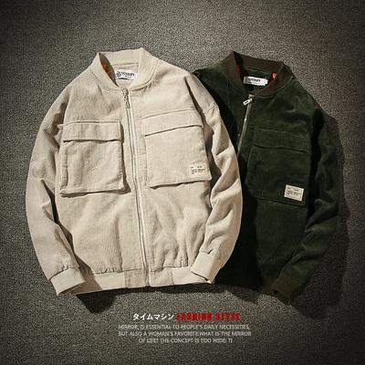 秋冬季潮流大口袋外套 男士日系灯芯绒加厚棒球领休闲夹克D20P125