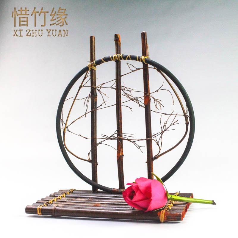 月影复古花器 安吉竹制品复古摆放竹编茶道配件民间手工艺装饰品