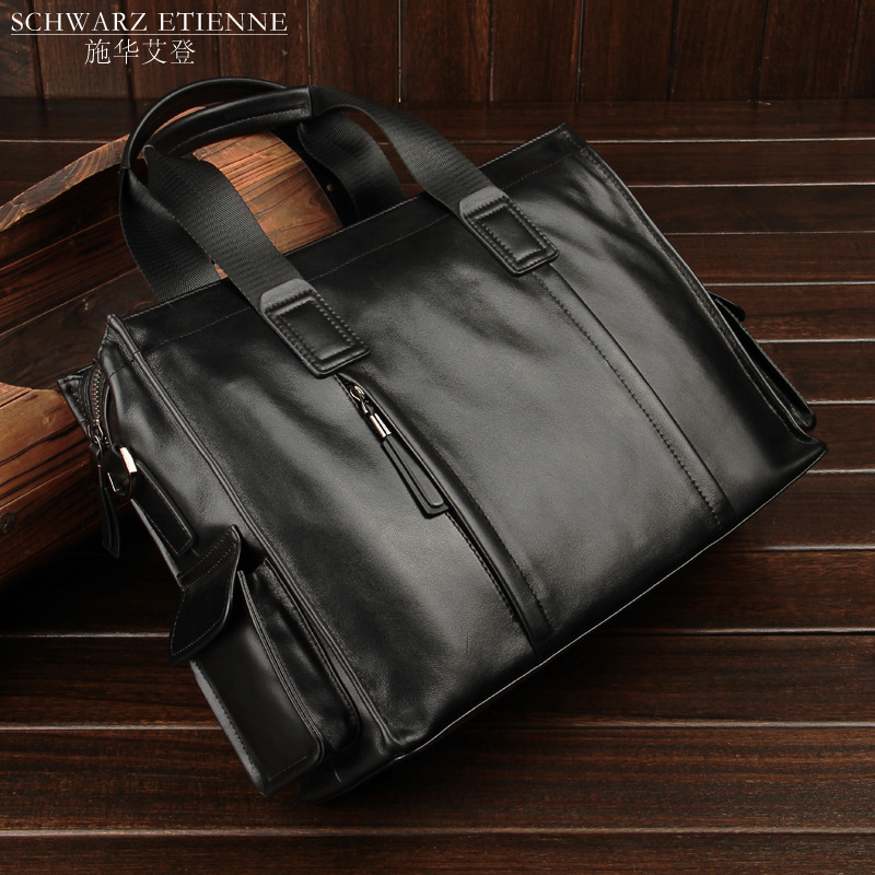 Large brand leather handbag, mans head leather, business quality, mans bag, large capacity, high-grade soft leisure briefcase trend