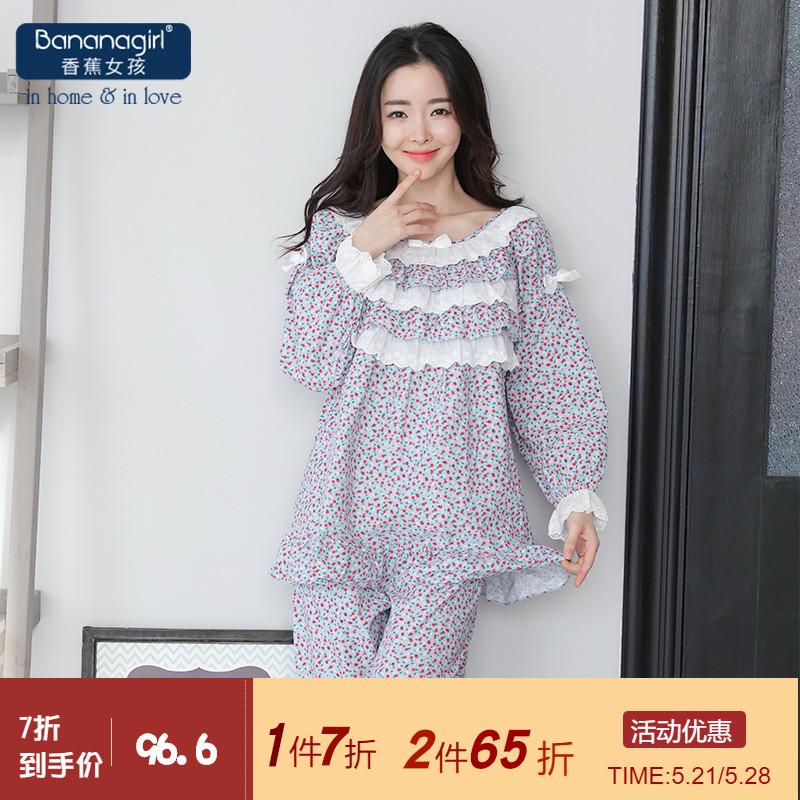 Bananagirl春季韩版女士睡衣纯棉碎花灯芯绒长袖家居服小清新图片