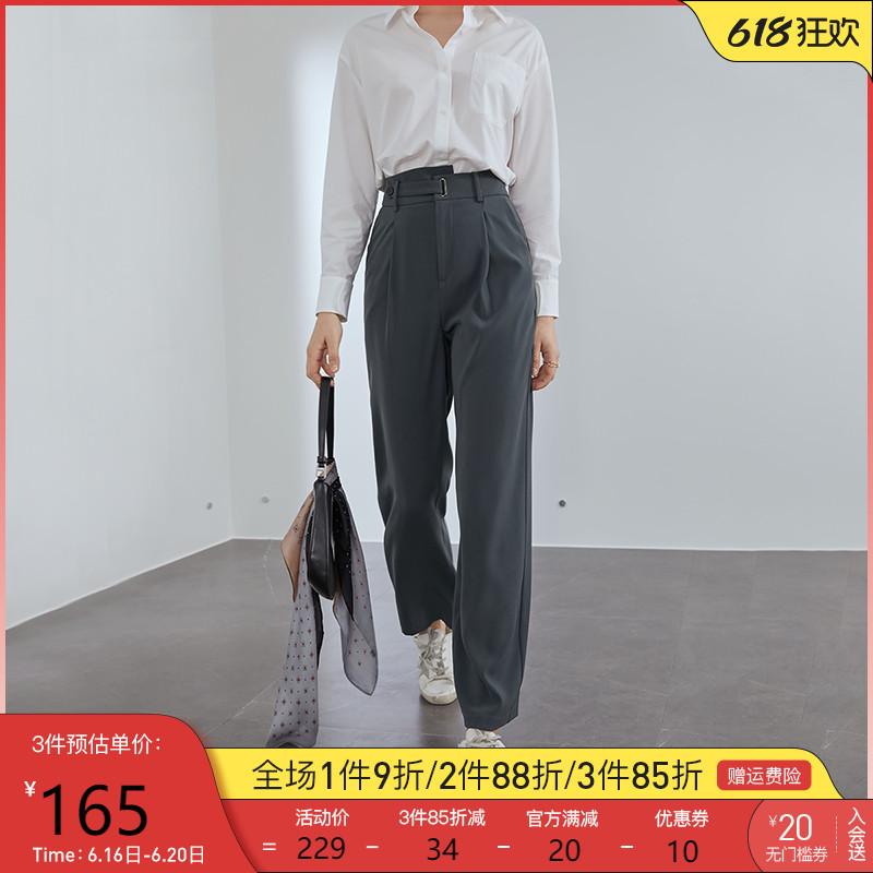 范思蓝恩拖地裤子高腰直筒裤女2021夏新款休闲垂感西装裤阔腿长裤