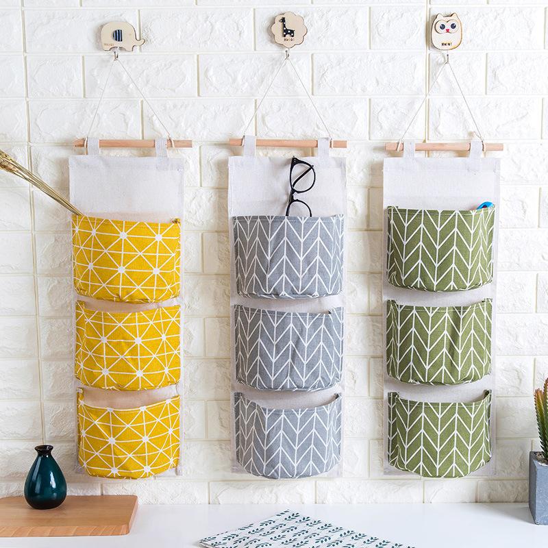 棉麻防水收纳三层挂袋悬挂式多层挂兜布艺门后杂物储物袋收纳袋