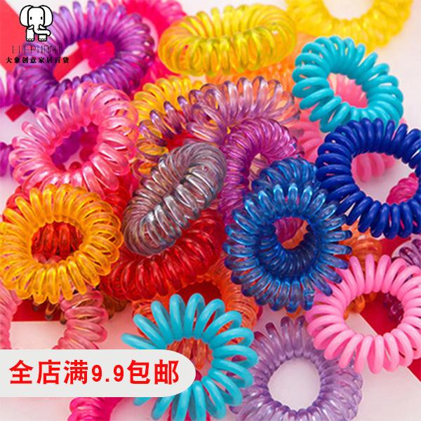 韩版热卖糖果色电话线发圈 头绳发绳 绑头发发圈 电话线发饰头饰