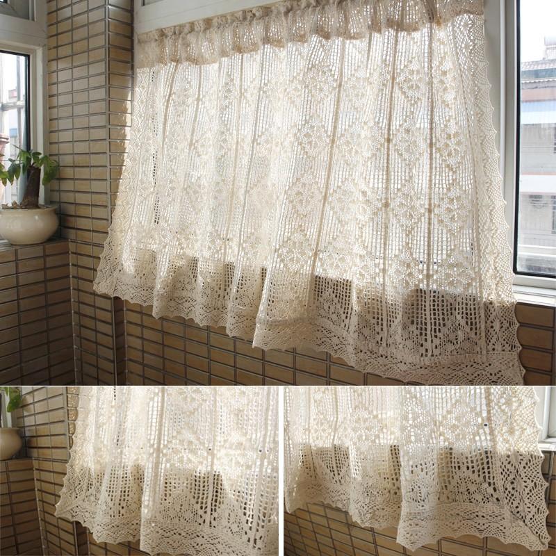 美式乡村棉麻钩针厨房半帘飘窗复古小窗帘镂空咖啡帘门帘橱窗帘头