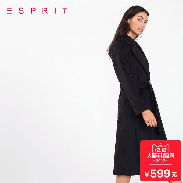 双12预告 ESPRIT 埃斯普利特 前1小时2件75折 可叠加店铺优惠券、天猫购物津贴 女式长款呢大衣 凑单后低至¥379.25/件 2色可选