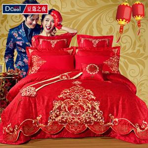 婚庆四件套大红床品被套多件套全棉结婚四六八十件套刺绣<span class=H>床上</span>用品