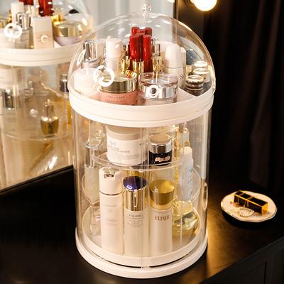 旋转化妆品收纳盒防尘网红梳妆台口红护肤品架子置物架桌面大容量
