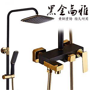 厂家直销全铜四方可升降旋转欧式豪华黑金色冷热淋浴花洒套装