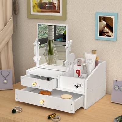 网红化妆品收纳盒带镜子抽屉式桌面整理梳妆台护肤口红首饰置物架