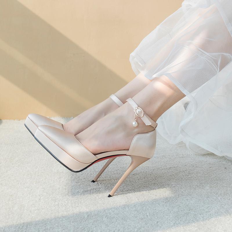 一字扣带高跟防水台女白纱结婚鞋子