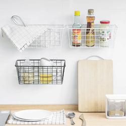 厨房收纳挂篮铁艺浴室壁挂式收纳篮免打孔置物篮桌面收纳筐置物架