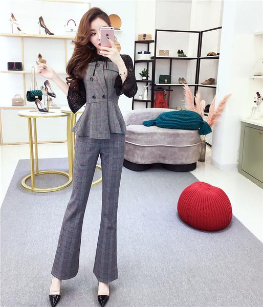 KTY11968#气质名媛时髦套装2020秋季新款格子上衣裤子时尚两件套实...