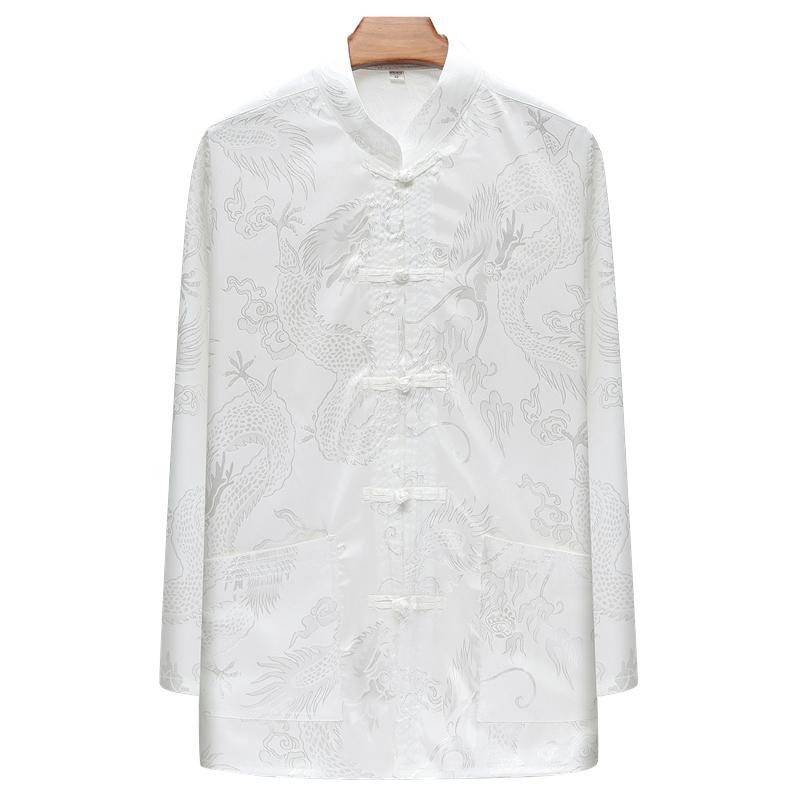 2020春季中老年棉麻长袖衬衫中国风大码盘扣提花立领衬衣D2039P55