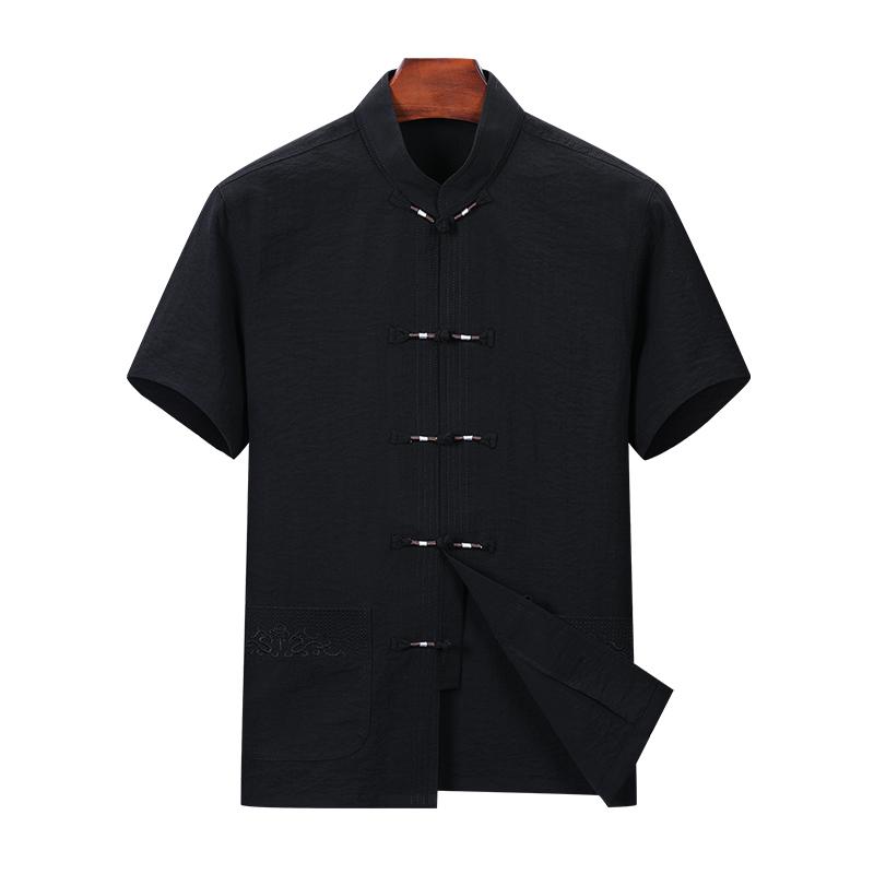 2020夏季薄款男士盘扣立领开衫中式短袖衬衫唐装衫衣D8802P60